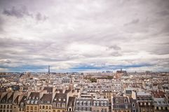 Panorama of of Paris, France with the Eiffel tower Royalty Free Stock Images
