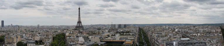 Panorama of Paris, France and the Eiffel Tower Stock Photography