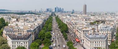 Panorama of Paris, France. View on Avenue de la Grande Armée, Le Palais des Congrès de Paris and La Defence from L'Arc de Triomphe de l'Etoile Royalty Free Stock Images