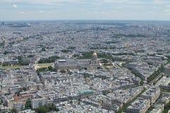 Panorama of Paris. Hotel des Invalides view from Eiffel Tower. F. Panorama of Paris. Hotel des Invalides view from the top of Eiffel Tower. France Stock Photo