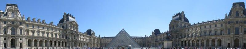 Panorama- Paris Louvre Royaltyfri Fotografi