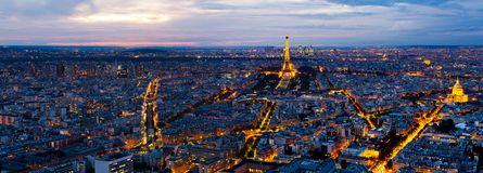 Panorama of Paris from the Montparnasse Tower. Royalty Free Stock Photos