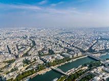Panorama of Paris. Panoramic view of Paris with Seine and Arc de Triomphe Stock Photo