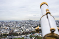 Panorama of Paris with Seine and Sacre Coeur de Montmartre Stock Image