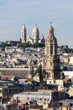 Panorama of Paris: The Sainte-Trinite and Sacre-Coeur churches. Stock Images