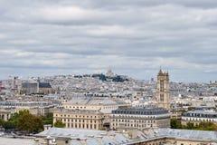 panorama paris Sikt från domkyrkan av vår dam av Paris Arkivfoton