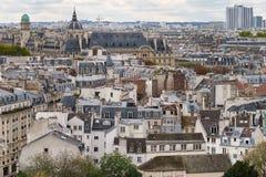 panorama paris Sikt från domkyrkan av vår dam av Paris Arkivbild