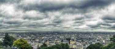 panorama paris Sikten av Montmartre france Fotografering för Bildbyråer