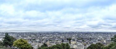 panorama paris Sikten av Montmartre france Arkivfoton