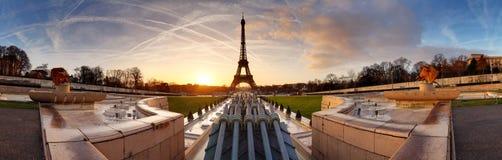 Panorama of Paris at sunrise with Eiffel tower stock photos