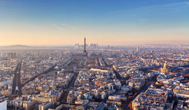 Panorama of Paris at sunset Stock Images