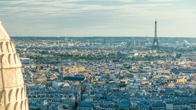 Panorama of Paris timelapse, France. Top view from Sacred Heart Basilica of Montmartre Sacre-Coeur . Panorama of Paris timelapse with Eiffel tower, France. Top stock video footage
