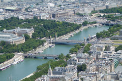 Panorama of Paris from the top of the tour Eiffel, the Seine riv. Er Royalty Free Stock Photography