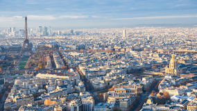 Panorama of Paris with Tower and les invalides Stock Photos