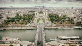 Panorama of Paris, the Trocadero and La Defense. Stock Images