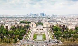 Panorama of Paris, the Trocadero and La Defense. Stock Photo