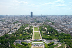 Panorama of Paris view on Champ de Mars from the Eiffel Tower . Royalty Free Stock Image
