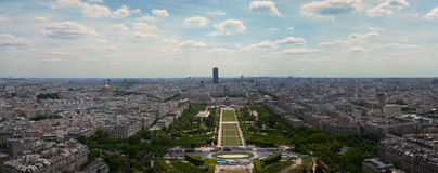Panorama of Paris view on Champ de Mars from the Eiffel Tower . Stock Images