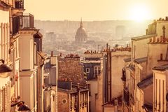 Panorama of Paris, view from the hill of Montmartre, in Paris France. Panorama of Paris, view from the hill of Montmartre, in Paris, France Royalty Free Stock Photography