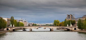 Panorama of Paris - view on Pont du Carrousel Stock Photography
