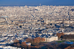 Panorama of Paris in winter afternoon. View on Luxembourg gardens and panorama of Paris in winter afternoon Royalty Free Stock Photo