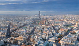 Panorama of Paris in winter afternoon Stock Images