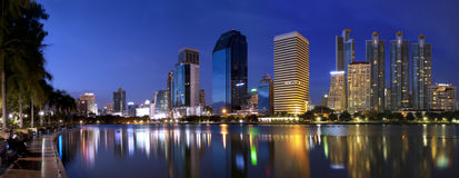 Panorama Park Bangkok city at night Stock Photo