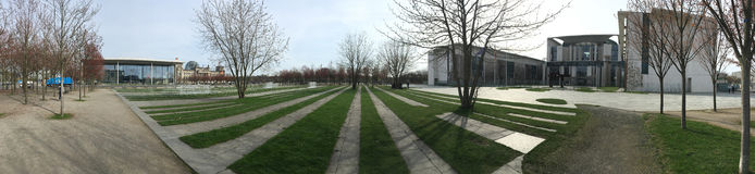 Panorama of the park in front of German Chancellery, Berlin Royalty Free Stock Photos