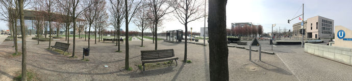Panorama of the park in front of German Chancellery, Berlin Royalty Free Stock Photo