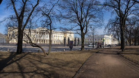Panorama of Park in front of Mikhailovsky Palace. Spring. Saint-Petersburg. Russia. Stock Images