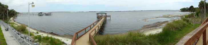 Panorama of Park on the Indian River Stock Images
