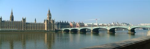 Panorama - Parlaments- und Westminster-Brücke Stockfotografie