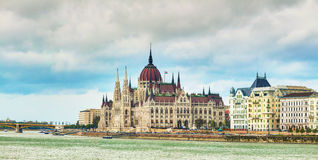 Panorama of Parliament building in Budapest Royalty Free Stock Photos