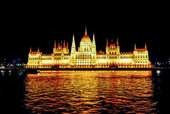 Panorama of the parliament building in Budapest at night with illumination Stock Image