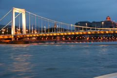 Lights of Budapest adn Danubio. Panorama of Parliament hill in Budapest and Danubio River stock image