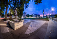 Panorama of Parliament Square and Queen Elizabeth Tower in Londo Stock Photography