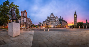 Panorama of Parliament Square and Queen Elizabeth Tower in Londo Stock Photo