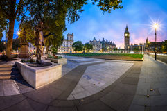 Panorama of Parliament Square and Queen Elizabeth Tower Stock Image