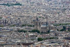 Panorama Paryż z widok z lotu ptaka przy Notre Damae Zdjęcia Stock