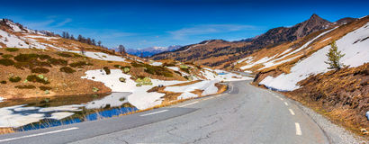 Panorama of the pass Col De Vars, Alps,. France, early spring stock photography