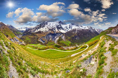 Panorama of the Pass Le Lautaret. Alps, France. stock image