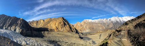 Panorama on Passu glacier. Panorama on Passu glacier, Karakoram highway Pakistan royalty free stock photography