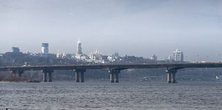 Panorama Paton-Brücke und Kiew Pechersk Lavra auf dem Hintergrund ukraine stock footage