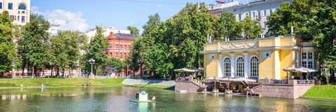 Panorama of Patriarch pond, Moscow Russia. Panorama of Patriarch pond, Moscow, Russia Royalty Free Stock Photography