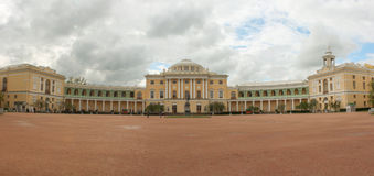 Panorama of Pavlovsk Palace and Monument Pavel First stock photography