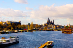 Panorama Pays-Bas de rivière de canal d'Amsterdam images stock