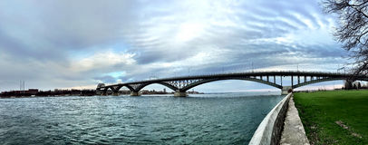 Panorama of the Peace Bridge, Fort Erie-Buffalo Royalty Free Stock Photos