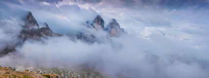 Panorama of the peak of Tre Cime Di Lavaredo, Italian Dolomites, Royalty Free Stock Image