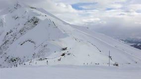 Panorama peaks of Caucasus Mountains in Rosa stock video footage