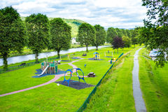 Panorama of Peebles with the river Tweed,  Scotland, UK Royalty Free Stock Images